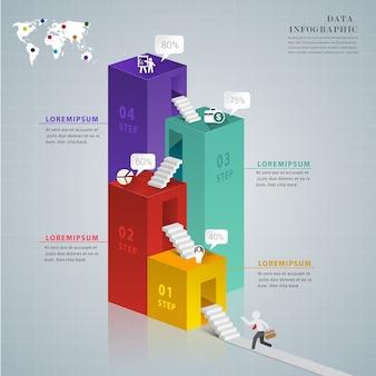 Design moderno 3d per affari infografica 4 opzioni.