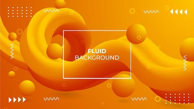 Sfondo fluido di colore sfumato moderno 3d con palline 3d