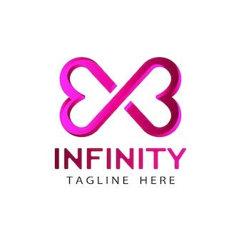 Vettore di progettazione del modello di logo di amore infinito moderno 3d in fondo bianco isolato