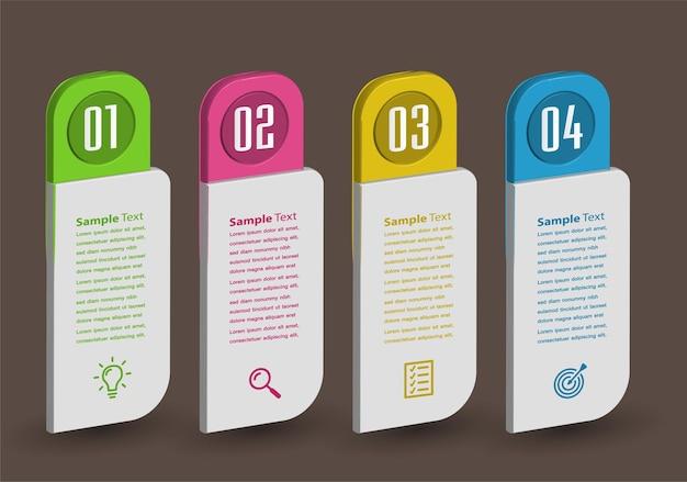 Insegna moderna del modello della casella di testo 3d infographics