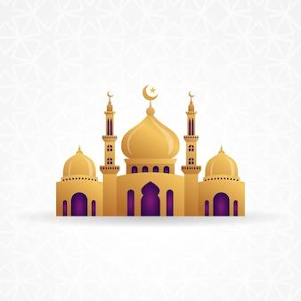 Illustrazione di disegno di vettore della moschea 3d. simbolo del segno dell'icona della moschea.