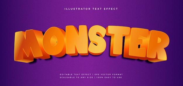 Effetto carattere stile testo arancione film 3d