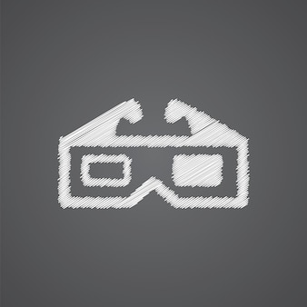 3d film schizzo logo icona doodle isolato su sfondo scuro