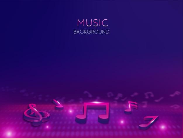 Note musicali 3d con effetto luci su sfondo blu e viola. Vettore Premium