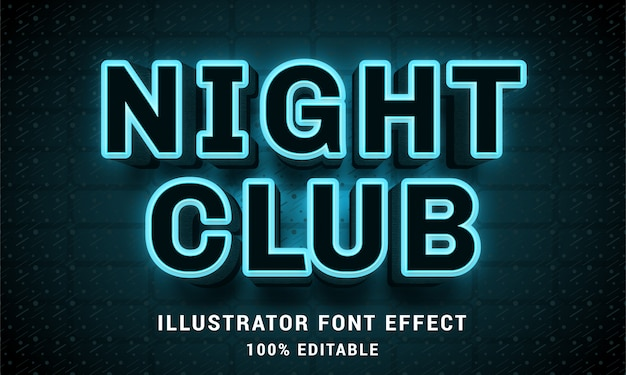 Night club 3d - effetto di testo facilmente modificabile