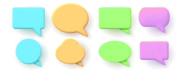 Notifiche 3d, messaggi di chat o forme di fumetti. finestra di dialogo, elementi di conversazione online di rendering 3d per set di vettori di social media