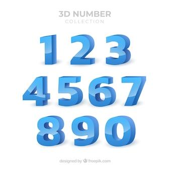 Raccolta di numeri 3d Vettore Premium