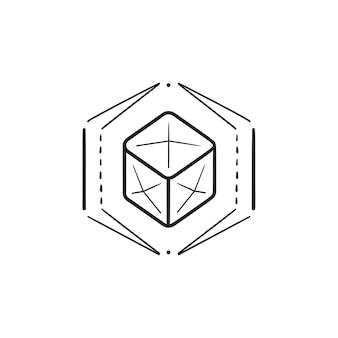 Icona di doodle di contorni disegnati a mano di modellazione di oggetti 3d. tecnologia di formatura e modellazione 3d, concetto di design 3d