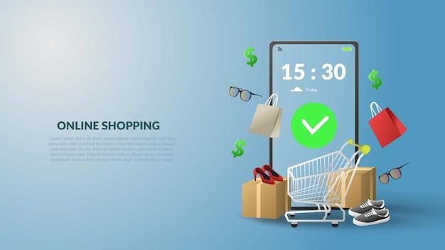Insegna online dell'illustrazione di acquisto 3d con progettazione mobile