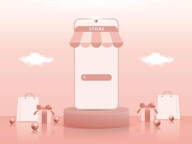 Acquisti online 3d su applicazioni mobili o concetti di siti web