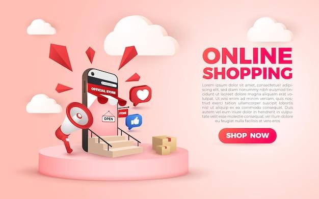Banner di applicazioni mobili per social media dello shopping online 3d