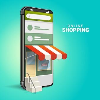 Shopping online 3d su siti web o applicazioni mobili concetti di marketing e marketing digitale. Vettore Premium