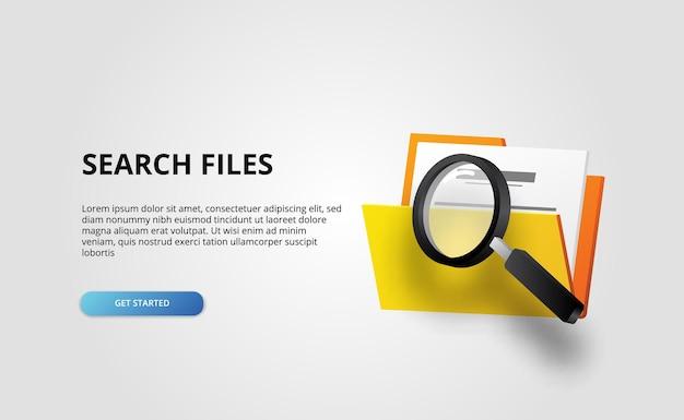La cartella aperta 3d contiene i documenti di file web banner directory amministrazione aziendale sul nero