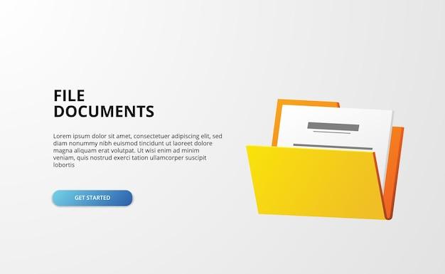 La cartella aperta 3d contiene banner web di documenti di file per l'amministrazione aziendale della directory su bianco