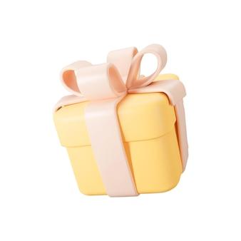 Confezione regalo arancione 3d con fiocco in nastro pastello isolato su sfondo bianco. rendering 3d scatola di sorpresa vacanza moderna volante. icona vettoriale realistico per striscioni regalo, compleanno o matrimonio.