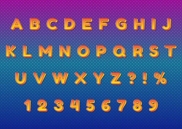 Set di numeri di alfabeti a pois sfumati arancioni 3d