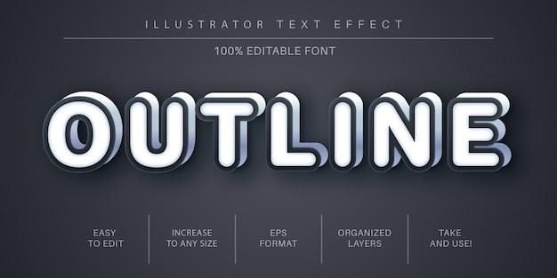 Stile di testo bagliore di contorno 3d, effetto carattere
