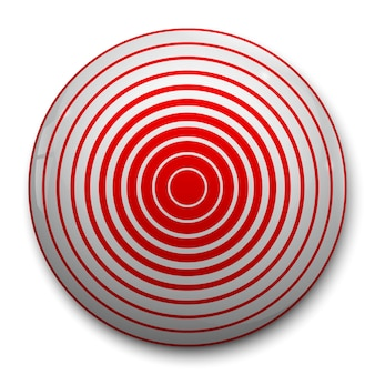 Icona rossa del cerchio del dolore 3d
