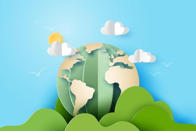 Terra astratta di arte di carta 3d con montagne, nuvole e sole