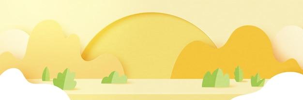 La carta 3d ha tagliato lo sfondo di forma geometrica minima astratta.stagione estiva sul paesaggio naturale giallo.