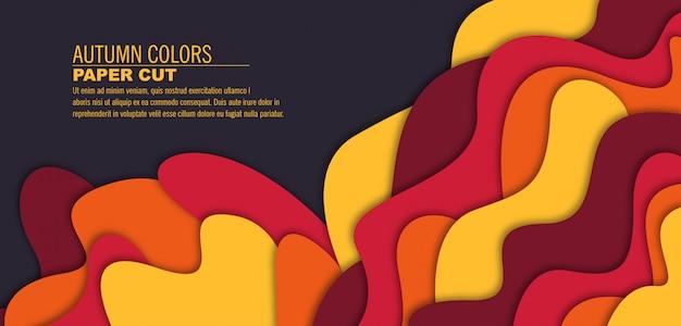 3d carta tagliata stile di sfondo forme con ombra in autunno colori