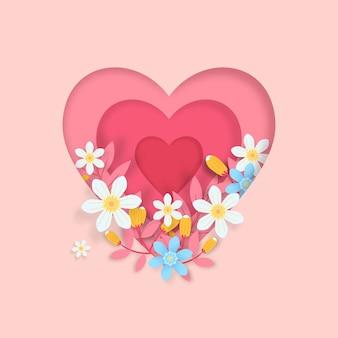 Forma di cuore in stile carta 3d con fiori