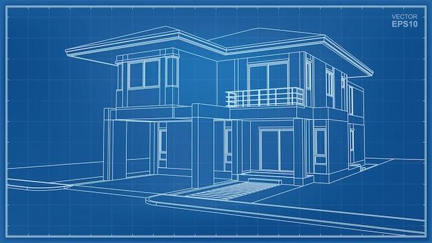 Wireframe di prospettiva 3d dell'esterno della casa. illustrazione vettoriale.