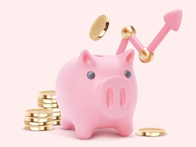 Banca piggy 3d con la freccia. risparmio o accumulo di denaro, servizi finanziari, concetto di deposito. illustrazione