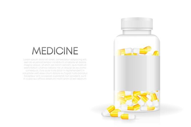Pillola 3d mock up su sfondo bianco vettore 3d isolato sfondo bianco oggetto 3d realistico
