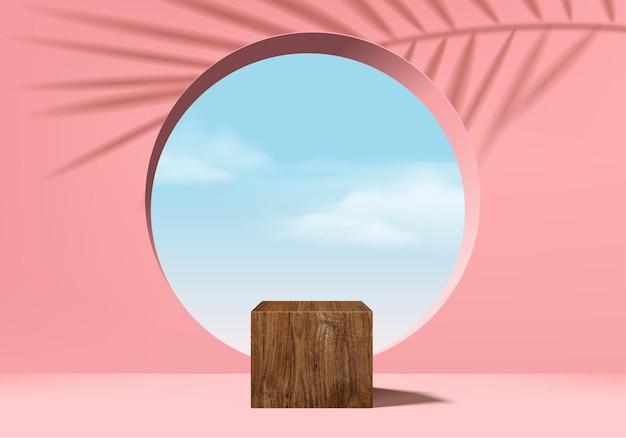 Podio del cilindro di corallo rosa 3d e scena minima della nuvola con foglie, rendering 3d del podio di legno