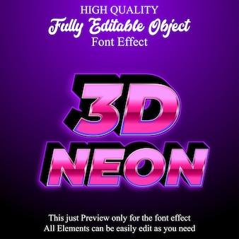 Effetto di carattere modificabile di stile di testo al neon rosa 3d