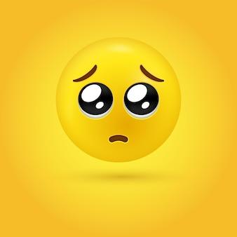 Faccia di emoji supplichevole 3d o emoticon occhi lucidi