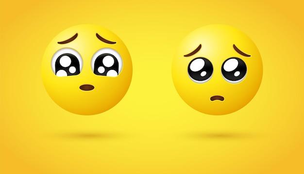 Emoticon faccia implorante 3d o emoticon occhi lucidi