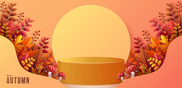 Prodotti di sfondo podio 3d con forme geometriche sfondo stagionale vacanza autunnale