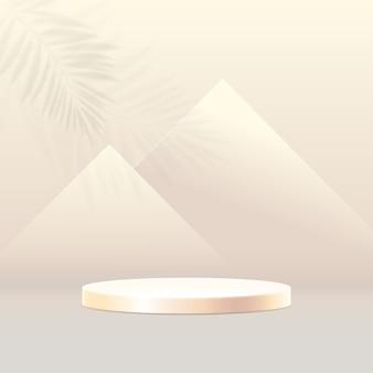 Composizione del podio 3d. fondo geometrico minimo astratto. piramidi nel concetto di egitto.