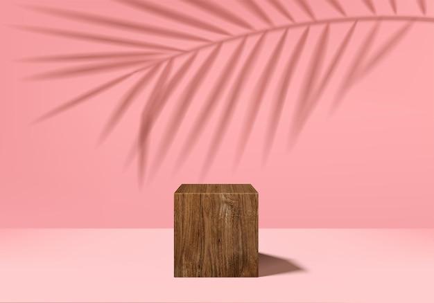 Display 3d podio con forma geometrica foglia, piattaforma di rendering 3d piedistallo
