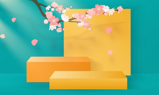 Podio 3d i con ramo di sakura. presentazione del prodotto
