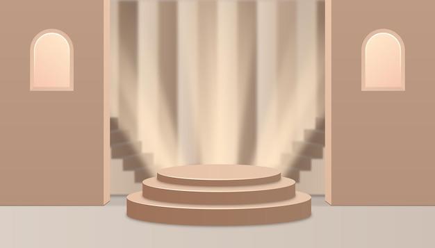 Vetrina dell'esposizione del prodotto del fondo di lusso del podio 3d. mostra d'interni color oro.