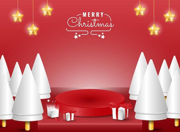 Banner di buon natale sul podio 3d con albero e scatola regalo