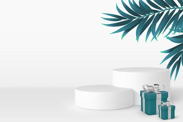 Scena del podio 3d con scatole regalo e foglie tropicali.