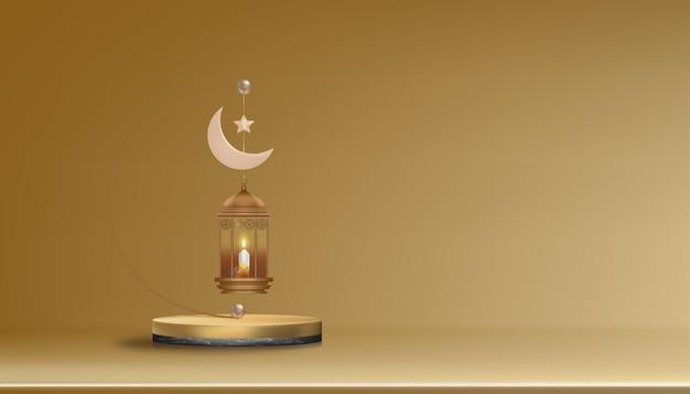 Podio 3d con lanterna islamica tradizionale candela luna crescente e stella in oro rosa. banner islamico orizzontale