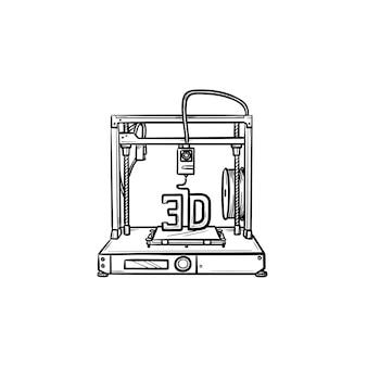 Icona di doodle di contorni disegnati a mano stampante 3d. produzione, macchina da stampa e concetto di tecnologia
