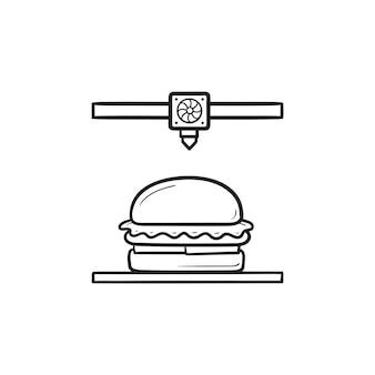 Stampante 3d che fa icona di doodle del contorno disegnato a mano dell'hamburger. stampa di cibo commestibile, concetto di tecnologia innovativa. illustrazione di schizzo vettoriale per stampa, web, mobile e infografica su sfondo bianco.