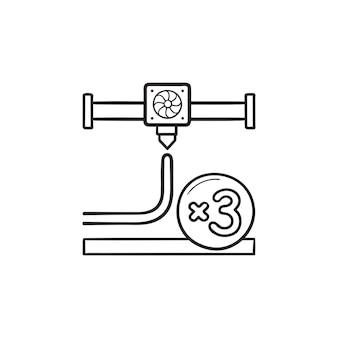 L'ugello di stampa 3d si moltiplica per 3 icone di doodle di contorni disegnati a mano. stampa 3d, concetto di ugello della stampante