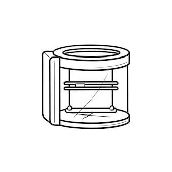 Icona di doodle del contorno disegnato a mano dello scanner di stampa 3d. stampa e scanner, forma, concetto tridimensionale