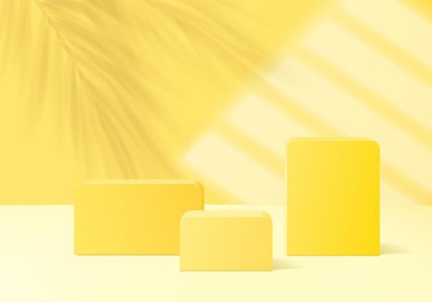 Piattaforma di sfondo display prodotto 3d con luce gialla moderna. piattaforma del podio delle foglie di palma della rappresentazione 3d di vettore del fondo. stand mostra prodotto cosmetico. vetrina scenica su piedistallo moderno studio di luce