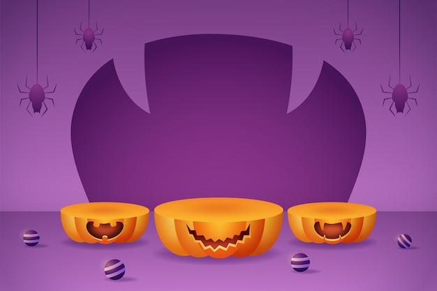 Banner di visualizzazione del prodotto 3d con podi di zucca, palla viola e ragno