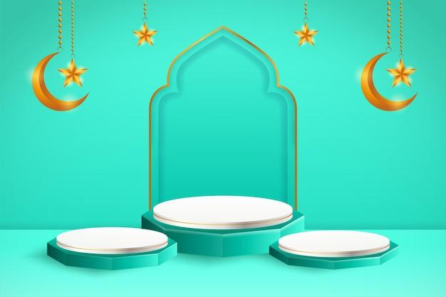 Esposizione del prodotto 3d islamico a tema podio blu e bianco con falce di luna e stella per il ramadan