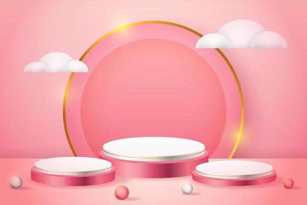 Podio rosa di visualizzazione del prodotto 3d