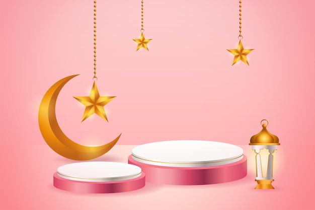 Esposizione del prodotto 3d islamico a tema podio rosa e bianco con falce di luna, lanterna e stella per il ramadan